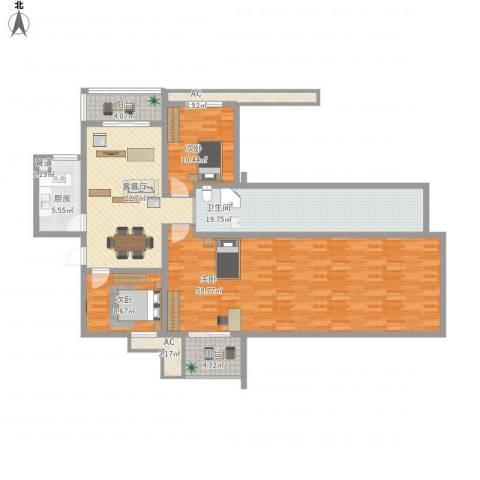 七彩星城国学府3室1厅1卫1厨186.00㎡户型图