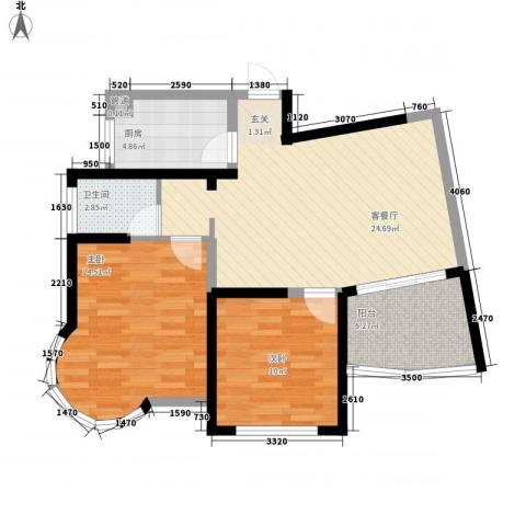 新港国际2室1厅1卫1厨91.00㎡户型图