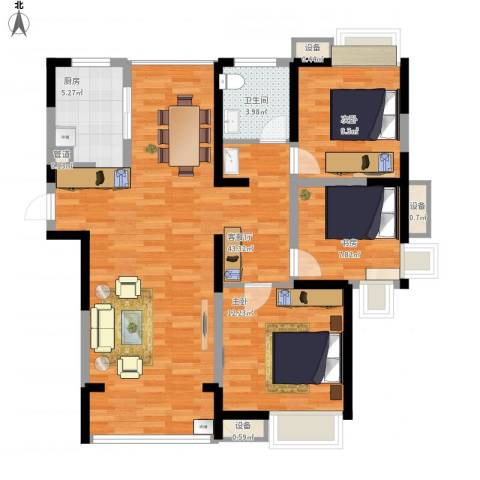 绿地波士顿公馆3室1厅1卫1厨120.00㎡户型图