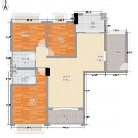 幸福湾3室1厅2卫1厨123.00㎡户型图