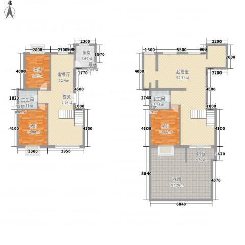 世纪星城・长城国际3室1厅2卫1厨177.00㎡户型图