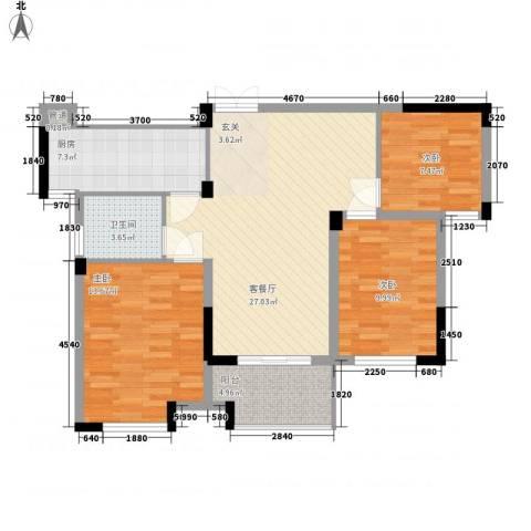 黄巷上3室1厅1卫1厨105.00㎡户型图