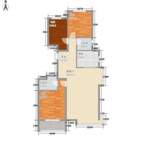 丽景华苑3室1厅2卫1厨129.00㎡户型图