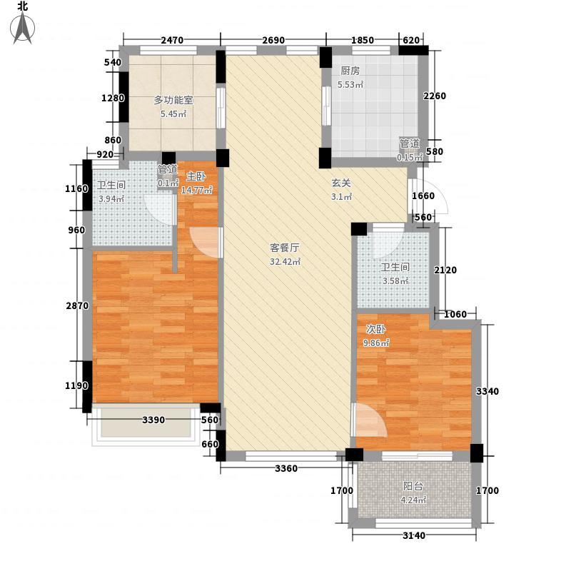 大华西溪风情公寓3室户型3室2厅2卫1厨