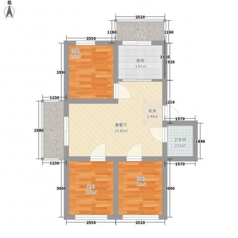 美丽人家3室1厅1卫1厨69.00㎡户型图