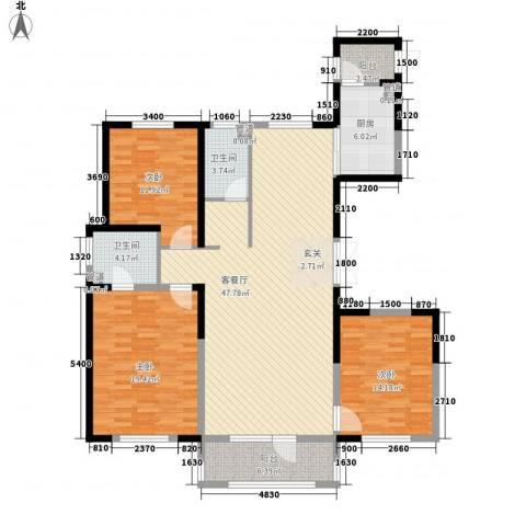 浦江御品3室1厅2卫1厨158.00㎡户型图