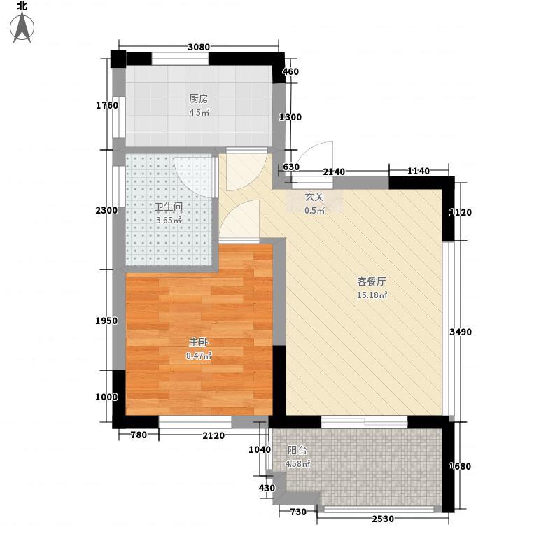 马里兰滨海湾花园53.00㎡C户型1室1厅1卫1厨