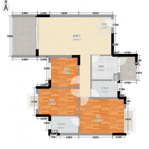 福安楼(宝安)3室1厅2卫1厨86.12㎡户型图
