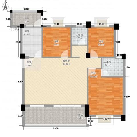 九个半岛3室1厅2卫1厨116.00㎡户型图
