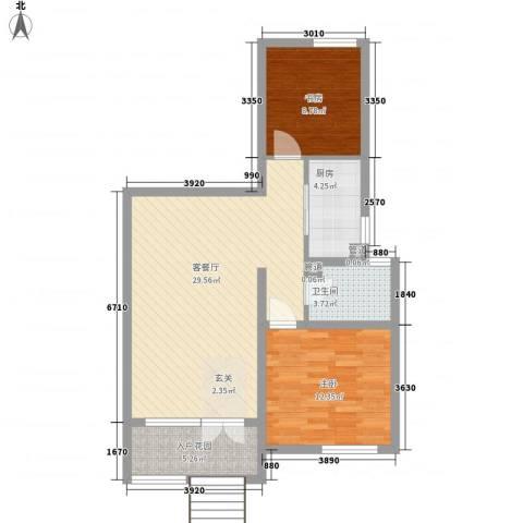 海尔桃花源2室1厅1卫1厨64.04㎡户型图