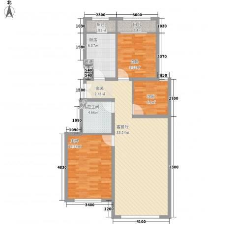 正园3室1厅1卫1厨87.00㎡户型图