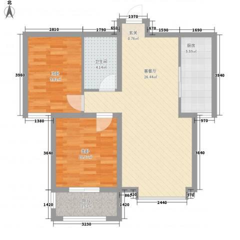 丽景华苑2室1厅1卫1厨86.00㎡户型图