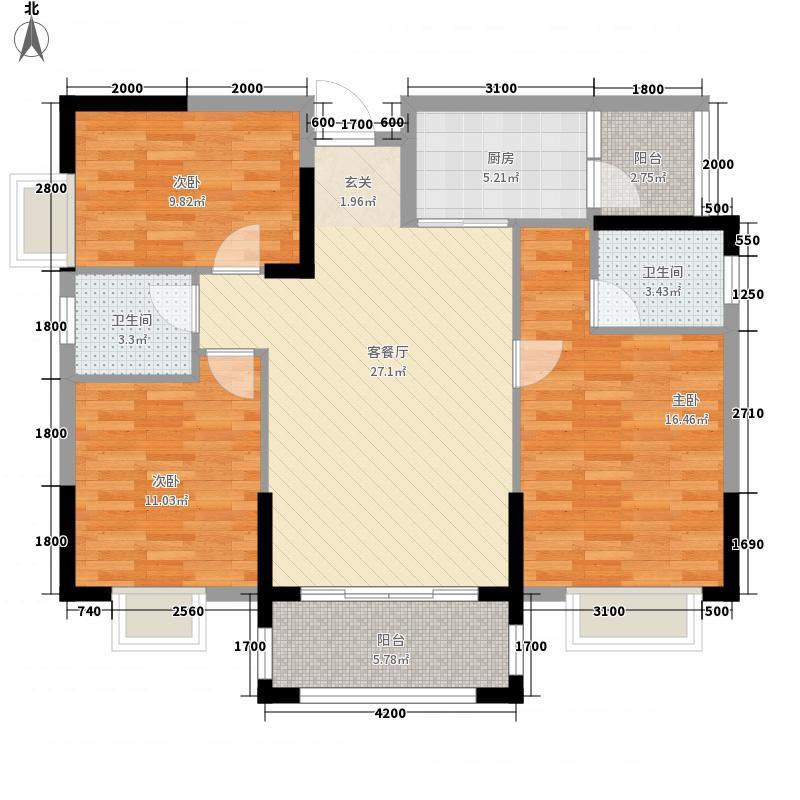 九个半岛14.40㎡A3户型3室2厅2卫1厨