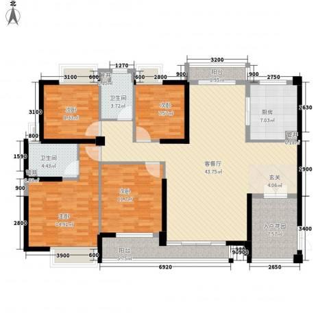 黄旗山1号4室1厅2卫1厨156.00㎡户型图