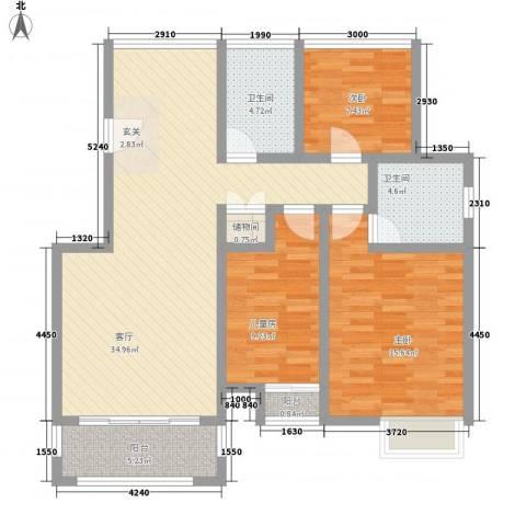 丽景湾3室1厅2卫0厨122.00㎡户型图