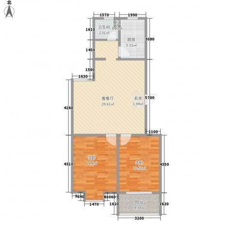 绿园爱舍2室1厅1卫1厨95.00㎡户型图