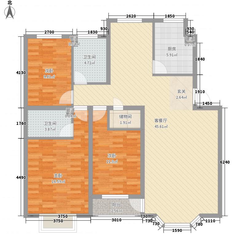 颐海听鸥户型图三室两厅两卫 3室2厅2卫1厨