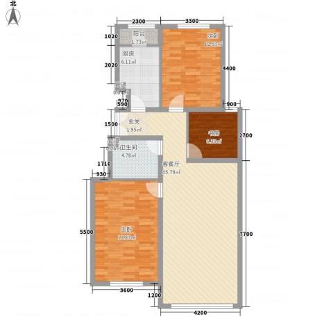 正园3室1厅1卫1厨85.66㎡户型图