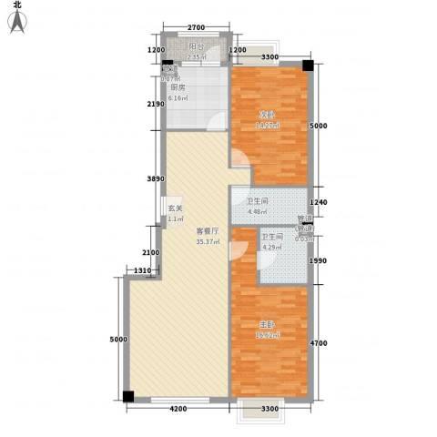 米兰D.C2室1厅2卫1厨116.00㎡户型图