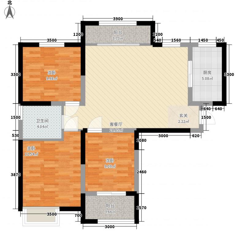 奥华国际装饰城1户型3室1厅1卫1厨