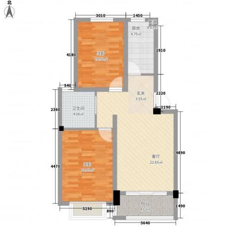 东昌玉龙公馆2室1厅1卫1厨78.00㎡户型图