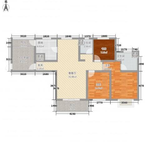 花都艺墅住宅3室1厅2卫1厨135.00㎡户型图