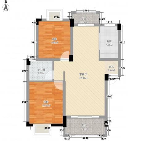 桑海明珠2室1厅1卫1厨92.00㎡户型图