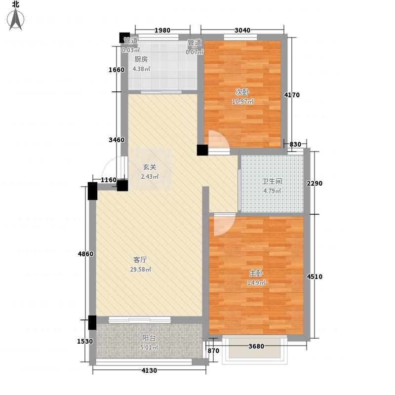 东昌玉龙公馆户型图A1-1户型 2室2厅1卫1厨