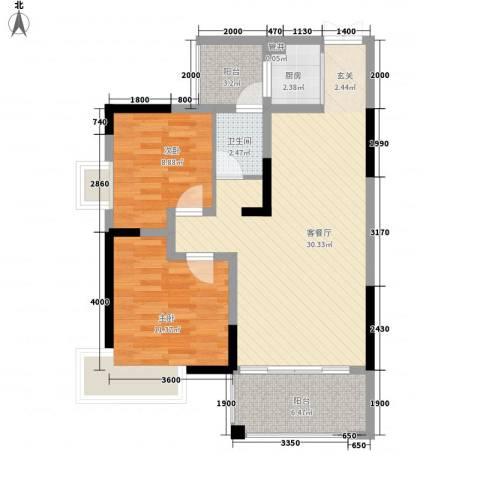 金霞湘绣园2室1厅1卫1厨86.00㎡户型图