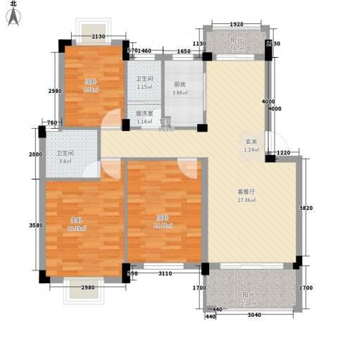 桑海明珠3室1厅2卫1厨110.00㎡户型图