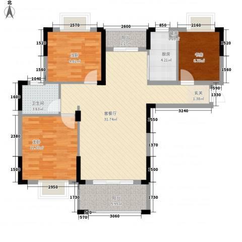 桑海明珠3室1厅1卫1厨107.00㎡户型图