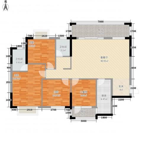 九个半岛4室1厅2卫1厨136.00㎡户型图