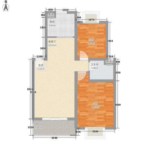 长江绿岛2室1厅1卫1厨72.00㎡户型图