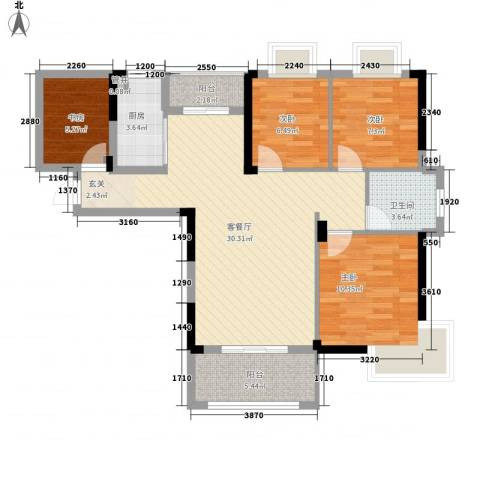 桑海明珠4室1厅1卫1厨108.00㎡户型图