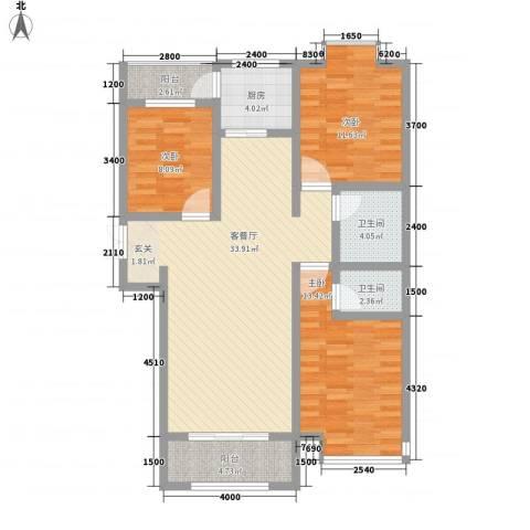 天一广场3室1厅2卫1厨124.00㎡户型图