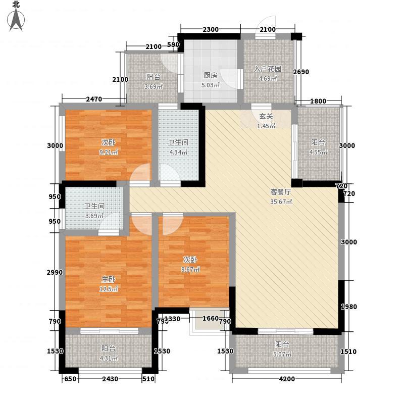 铂金时代128.15㎡铂金时代户型图三批次中庭楼王C13室2厅2卫1厨户型3室2厅2卫1厨