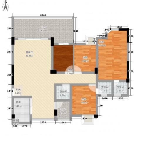 金域湾4室1厅3卫1厨143.00㎡户型图