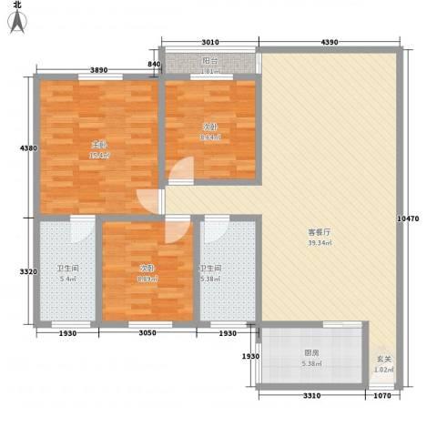 名都鸿雅轩3室1厅2卫1厨127.00㎡户型图