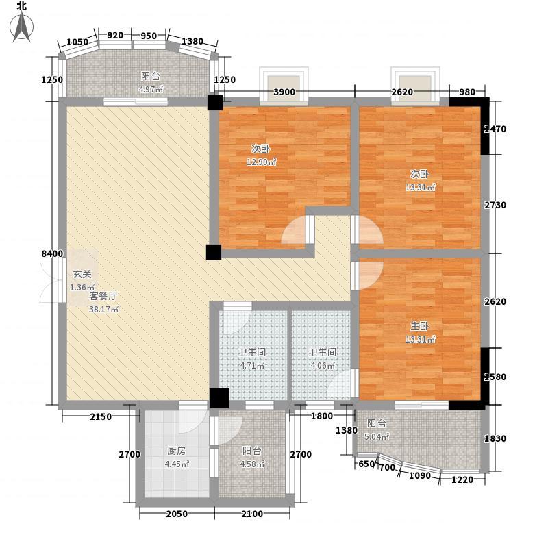 浅水湾城市花园户型3室2厅2卫1厨