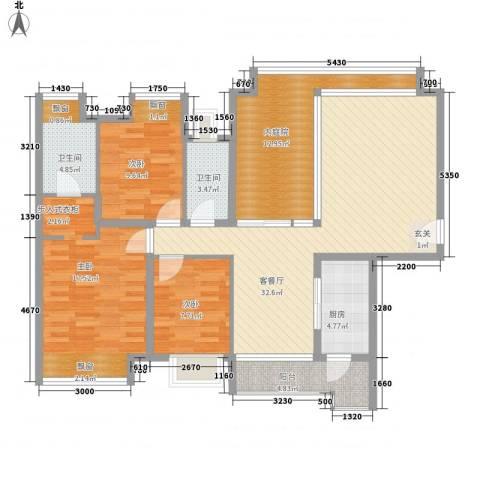 上林雅苑3室1厅2卫1厨98.34㎡户型图