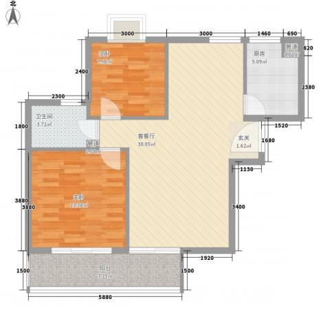 汉口春天2室1厅1卫1厨95.00㎡户型图