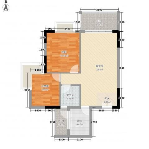 周屋基2室1厅1卫1厨87.00㎡户型图