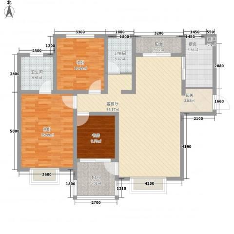 天一广场3室1厅2卫1厨130.00㎡户型图