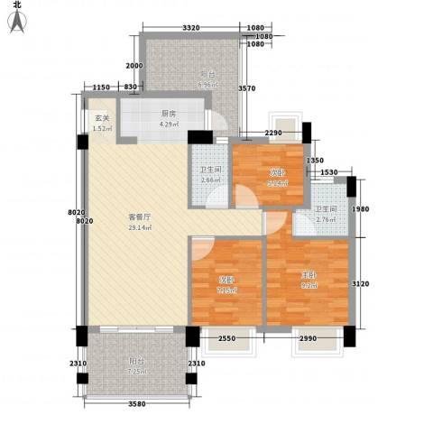 龙新雅居3室1厅2卫0厨100.00㎡户型图