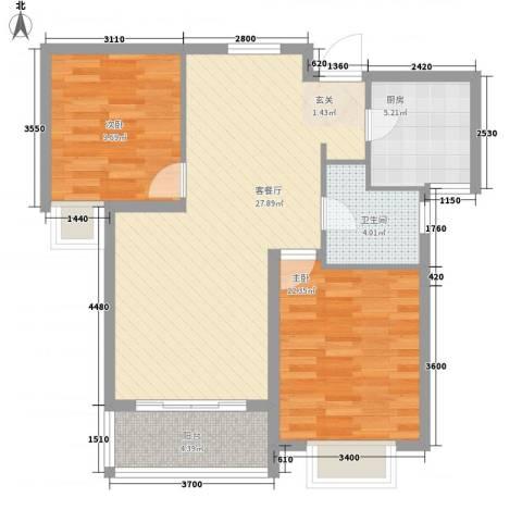 天一广场2室1厅1卫1厨93.00㎡户型图