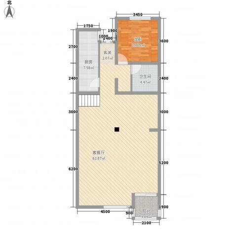 农机大院1室1厅1卫1厨122.00㎡户型图