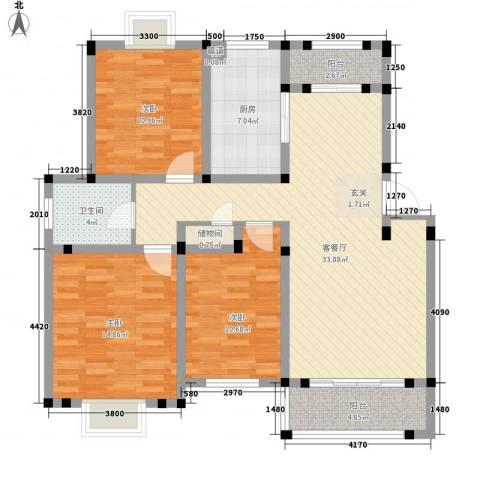 双清花园3室1厅1卫1厨112.00㎡户型图