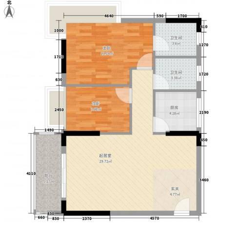 阳光花园2室0厅2卫1厨93.00㎡户型图