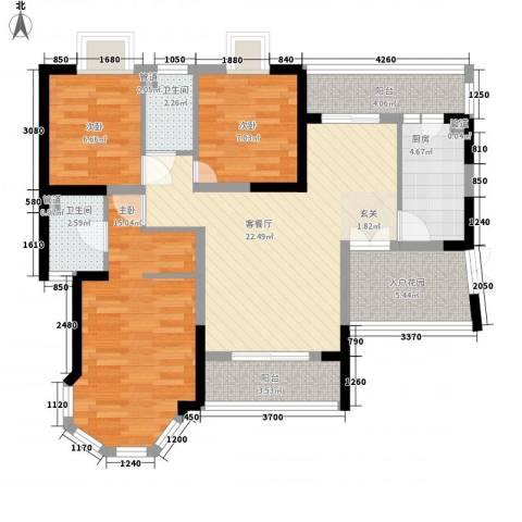 建委宿舍3室1厅2卫1厨109.00㎡户型图