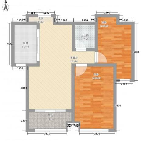 天一广场2室1厅1卫1厨88.00㎡户型图